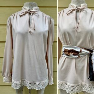 Vintage 1970 Romantic Boho Lace Trim Tunic Blouse